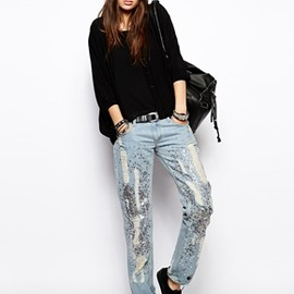 Religion - Religion Boyfriend Jeans With Sequin And Ripped Detail