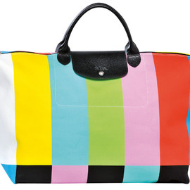 JEREMY SCOTT, LONGCHAMP - Cotton weekend bag with multi-colored stripes