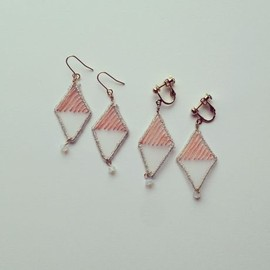 patterie - crack diamond pierce / earring (pink)