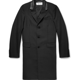 SAINT LAURENT - REGULAR-FIT LEATHER-TRIMMED WOOL-BLEND CHESTERFIELD JACKET