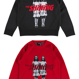 "MEDICOM TOY - KNIT GANG COUNCIL ""THE SHINING"" CREW NECK SWEATER ""TWINS"" BLACK/RED"