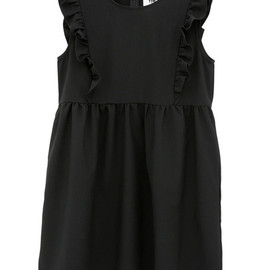 THE WHITEPEPPER - Sleeveless Bib Frill Smock Dress Black