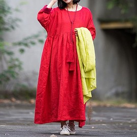 long robe - Women Long linen dress in red, red Maxi dress, long robe