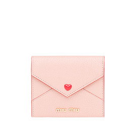 MIUMIU - Madras Leather Wallet with Love Logo MiuMiu ORCHID PINK