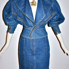 AZZEDINE ALAIA - Denim Motorcycle Jacket Skirt Suit