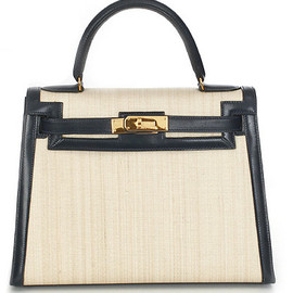 HERMES - kelly bag beige fabric