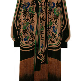 ANNA SUI - Fringed printed crepe de chine jacket