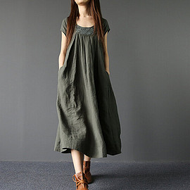Maxi Dress - Summer Loose Fitting Long Maxi Dress Women Long Dress in Army Green