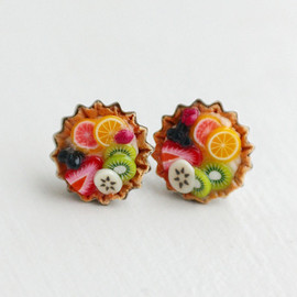 bookmarksnrings - Fruit Tart  Food Earrings
