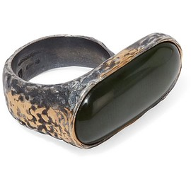 Bottega Veneta - Oxidized silver jade ring