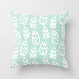 Allison Holdridge - Peacock Plant : Mint Throw Pillow