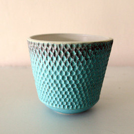 LeiliDesign - Turquoise Stoneware Vessel Carved with Intricate Texture