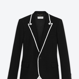 SAINT LAURENT - SINGLE BREASTED VESTE DE CANOTIER IN BLACK WOOL AND WHITE GROSGRAIN PIPING