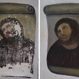 エリアス・ガルシア・マルティネス⇒セシリア・ヒメネス - DIY job: Cecilia Jimenez's botched restoration of a 120-year-old Spanish fresco sparked a stream of copycat 'restorations' of famous artworks online
