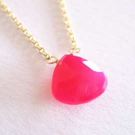 pomme - very pink chalcedony necklace
