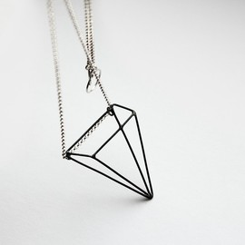 MIRTAjewelry - Pyramid Illusion . sterling silver necklace with oxidized pendant