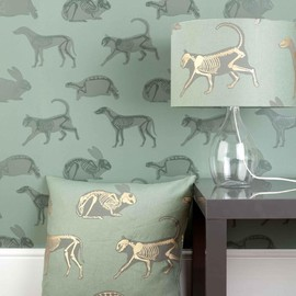 PaperBoy - Animal Magic green and gold children's fabric room set