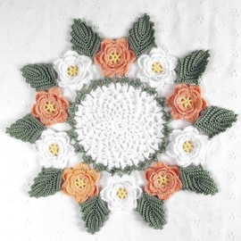 Pretty Delicate Crocheted White & Peach Rose Doily - 11""