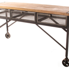 Kathy Kuo Home - Tribeca Industrial Mesh Drawer Caster Wheel Desk Console Table eclectic coffee tables
