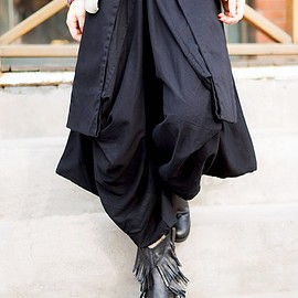 women Black pants - women Black Large pocket pants cotton Wide leg pants