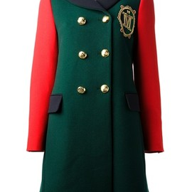 MOSCHINO - embroidered colour block peacoat