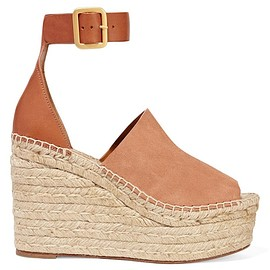 Chloé - Suede and leather espadrille wedge sandals