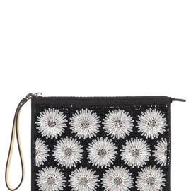 MARNI - EMBELLISHED FLOWERS ON LEATHER CLUTCH