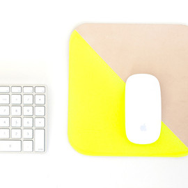 Freshly Picked - Leather Mouse Pad in Neon Yellow