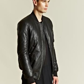 Rick Owens - Rick Owens Men's Padded Leather Bomber Jacket
