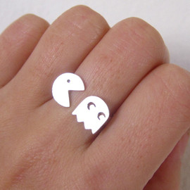 smilingsilversmith - pac-man sterling silver ring