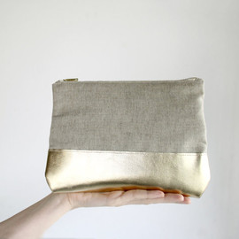 SchickiMickis - BOGO SALE Gold Leather Clutch, Natural linen clutch, zipper clutch with Iphone sleeve, color block purse, evening clutch