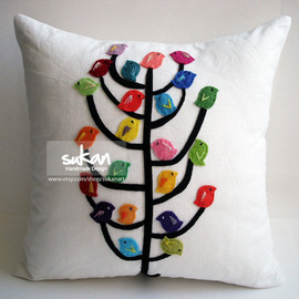 sukanart - Sukan / Color Birds, Black Tree, White Linen Pillow Cover