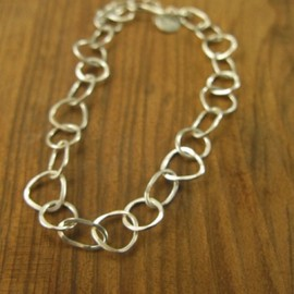Melissa Joy Manning - Multi shaped silver chain bracelet