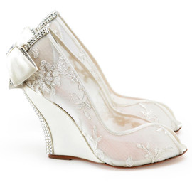 Aruna Seth - Cerise 110mm Wedge in Ivory Lace