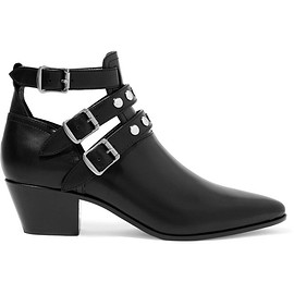 Saint Laurent - Cutout glossed-leather ankle boots