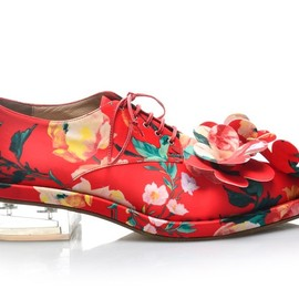Simone Rocha - SS2015 Printed canvas derby shoes