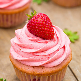 Strawberry Cupcakes with Strawberry Buttercream Frosting
