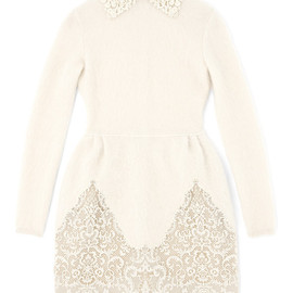 VALENTINO - Long Sleeved Tulip Dress With Embroidered Collar And Hem