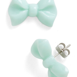 You Bow What I Mint Earrings - Green, Solid, Bows, Kawaii, Party, Casual