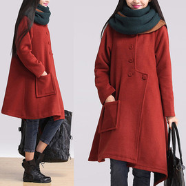 etsy - Orange cashmere coat irregular / asymmetric long warm coat