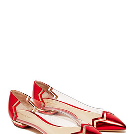 NICHOLAS KIRKWOOD - CHEVRON LEATHER and PVC FLATS