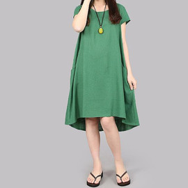 dress - Green dress orange dress Linen asymmetric short sleeved dress