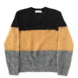 bal - STRIPE MOHAIR V NECK SWEATER