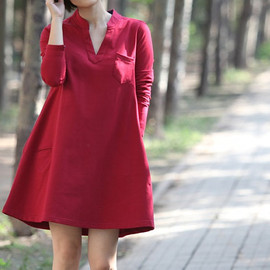 Dress - Women Coat Dress/ Cotton Dress/ Fall V collar long shirt Dress