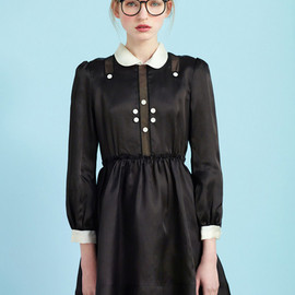 Exclusive to ASOS Fine Lace Collar Velvet Dress