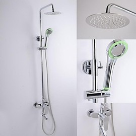 Faucetsmall - Chrome Finish Contemporary Brass Shower Faucet with 8 Inch Ultrathin Shower Head - Faucetsmall.com