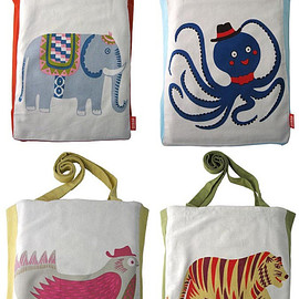 BRIGHTON-BASED SUKIE - OCTOPUS, TIGER, ELEPHANT & PIGEON STYLIZED TOTE BAG