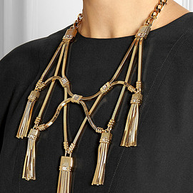 LANVIN - Tasseled gold-tone crystal necklace