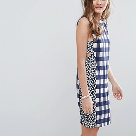 ASOS - Mini Dress in Gingham Mixed Print With Tab Side Detail