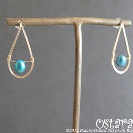 Ostara - 【14KGF】Stud Earrings, Fresh Water Blue Pearl Teardrop-A-